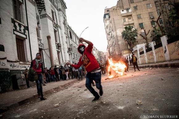 Clashs au Caire, le 25 janvier 2013, lors du deuxième anniversaire de la Révolution.
