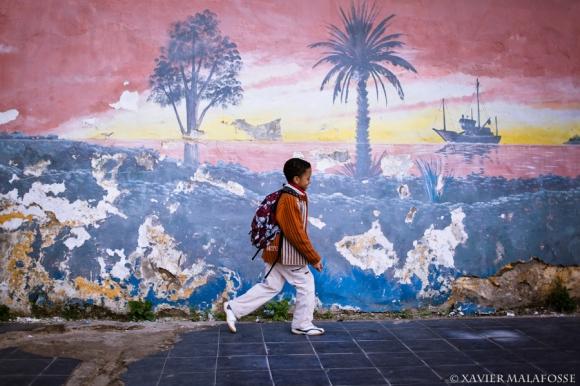 Youssef Oudani, à proximité de son école, Casablanca, décembre 2012.