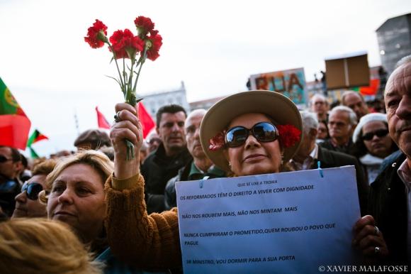 Au cours de la manifestation contre les politiques d'austérité, à Lisbonne, le 2 mars 2013.