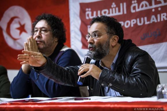 Jelloul Ben Hamida, coordinateur du Front populaire tunisien, et Riadh Ben Fadhel, élu du Front populaire à l'Assemblée nationale constituante, à Montpellier, le 8 février 2014.